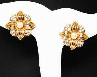 Rhinestones & Pearls Flower Earrings - Clip on Krementz Signed Earrings- Clear Rhinestones, Pearl Beads Goldtone Vintage Earrings  -  1980s