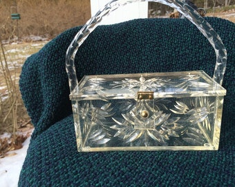 Lucite Purse Nelson Originals Label Clear Carved Lucite Box with Twisted Lucite Handle Rare Lucite Purse Collectible Lucite Bridal