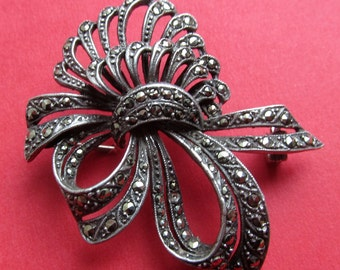 Antique Sterling Silver Marcasite Art Deco  Brooch Pin Jewelry