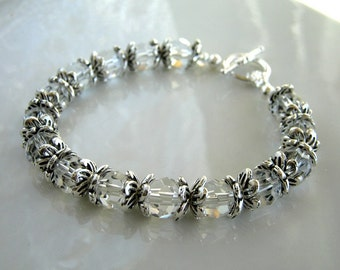 Antique Silver and Clear Crystal Bracelet Crystal Beaded Bracelet