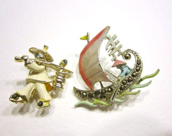 Vintage Enamel Sail Boat Pin and Coolie Man Water Bucket Marcasite Sail Boat Asian Jewelry Small Pins Jewelry Under 20