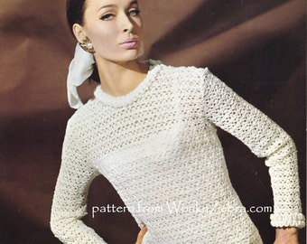 Vintage Crochet sweater or evening pullover jumper pattern with frills, bow belt and lace Pattern PDF 938 from WonkyZebra