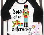 Son of a Nutcracker kids santa hipster shirt kids Funny Christmas raglan hipster kids shirt xmas Boys Christmas Shirt Santa Visit shirt