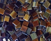 Dark Amber and White Stained Glass Mosaic Tiles