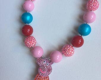 Peppa Pig Necklace - Little Girl Necklace - Peppa Pig Birthday - Chunky Necklace - Peppa Pig Chunky Necklace - Bubble Gum Necklace