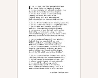 If, Rudyard Kipling poem print, graduation gift