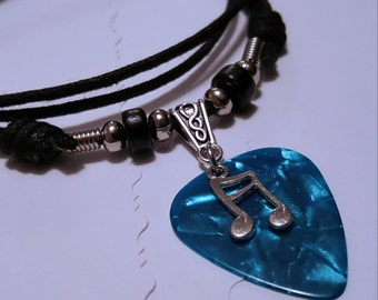 Guitar Pick Necklace - Music Necklace - Music Jewelry -  Music Note  - Music Note Necklace - Turquoise Pick Necklace - Pick Necklace