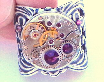 SteampunkAdjustable Ring, Neo Victorian Ring, Ruby Jeweled, Vintage Watch Movement, Purple Swarovski Crystal, Antiqued Silver Tone