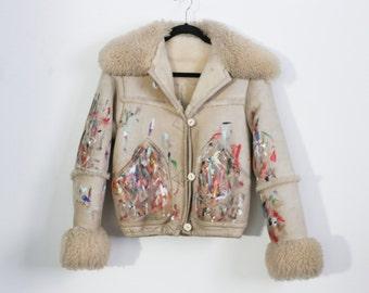 Hand painted shearling jacket