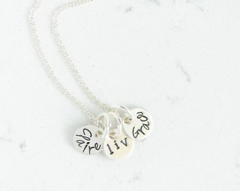 INITIALS --  Sterling Silver or gold Hand Stamped Necklace for Mom, Grandma, Sister, Friend