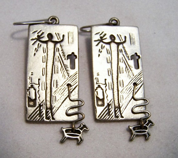 Christian Pierced Earrings Jesus Christ Dangling Lamb Cross Tribal Style Vintage Earrings 1016D