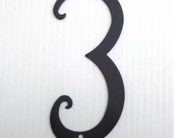 House Number 3 Antique Style Black Powder Coated Metal House Number 5 3/4 inches High New Old Stock