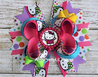 Hello Kitty Inspired Bow Hello Kitty Polka Dot Bow Bottle Cap Bows Hello Kitty Birthday Bows Girls Boutique Bows Girls Hair Accessories