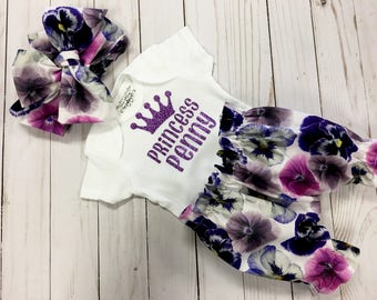 Big Bow Headband, Baby Floral Bloomer Shorts, Personalized Onesie, Personalized Baby Photo Prop, Baby Shower Gift, Newborn Baby