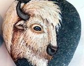 RESERVED For VANESSA ++ White Buffalo Medicine Rock Art American BISON Hand Painted Rocks Animal Totem Stone Native American Spirit Animals
