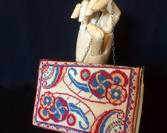 Late Victorian antique embroidered needlepoint hand sewn wallet - perhaps calling card purse or pocketbook