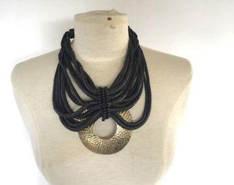 boho multi strand black wood bead and hammered brass pendant necklace bohemian collar bib choker ethnic tribal festival statement