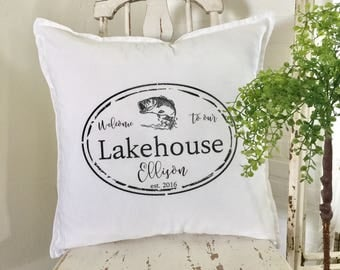 LakeHouse Pillow | Welcome to our Lakehouse | Personalized | Family Name  | Pillow Cover | Farmhouse Decor | Cottage Decor | Cottage Pillows