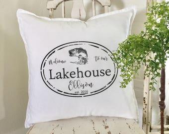 LakeHouse Pillow | Welcome to our Lakehouse | Personalized | Family Name  | Pillow Cover | Farmhouse Decor | Cottage Decor | Cottage Pillows