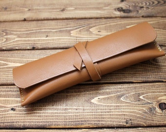 Leather Pencil Case, Pencil Roll, Tool Case, Makeup Bag, Personalized Gift  (Free Personalization)