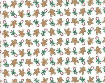 Moda Sugar Plum Christmas Fabric - White Christmas Fabric - Gingerbread Quilting Fabric By The 1/2 Yard