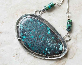 Turquoise Statement Necklace in Sterling Silver, Handcrafted
