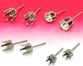 100 Earring Blanks-  Stainless Steel Post Earring W/ 4mm/ 5mm/ 6mm/ 8mm/ 10mm Round Prong Setting Wholesale Ear Studs Rhinestone Setting