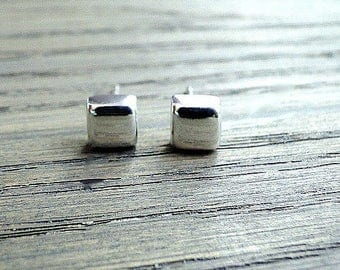 Solid silver square studs, 925 Silver earrings, cube silver studs, handmade jewelry