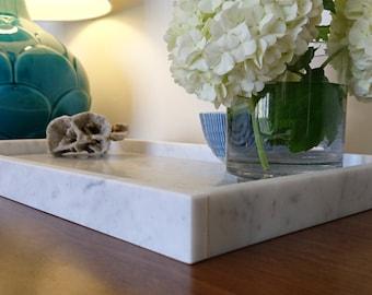 Marble tray / platter - Carrara - Large - 45.5cm x 25cm x 3cm