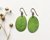 Green Earrings. READY TO SHIP. Tagua nut jewelry.  Kelly green earrings. Lightweight statement. Bright green earrings. Sela Designs.