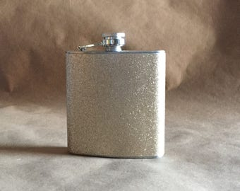 Bridal Party Gift Champagne Sparkly or ANY Color Sparkly 6 ounce Stainless Steel Girly Gift Flask