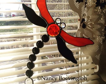 Vintage Orange and Black Faceted Jeweled Dragonfly Stained Glass Suncatcher