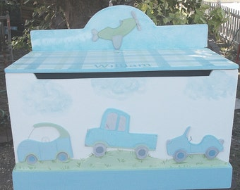 Toy Chest, Cars, Trucks, Transportation, Kids Benches,Toy Boxes, Boys, Little Traveler, Lambs Ivy, Storage Furniture,