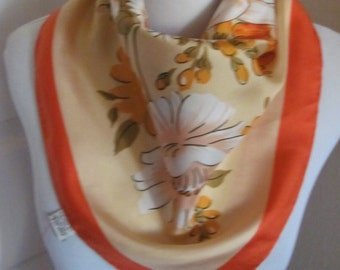 "Beautiful Orange Floral Soft Silk Scarf  // 21"" Inch 51cm Square"