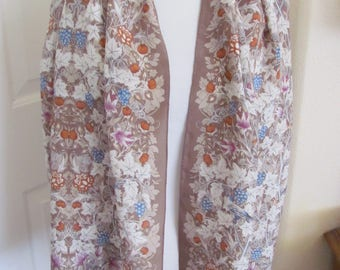 "Wow! Ellen Tracy // Lovely Brown Floral Soft Silk Scarf // 15"" x 58"" Long // Best of the Best"