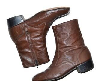 ON SALE Vintage Neettleton Brown Leather Mens Ankle Boots Vintage 9D Florsheim Style 8.5D