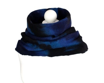 Infinity scarf, blue and black, winter circle scarf,