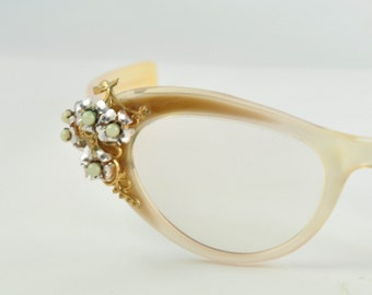 Schiaparelli Vintage Cat Eye Glasses, Cream and Brown with Flower & Pearl Clusters, 1950s