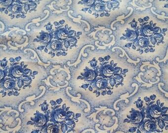 Pillow Sham Pillowcase Cover Vintage Cotton Large Square Blue Roses 27 x 29