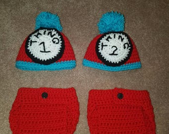 Crocheted Thing 1 Thing 2 Twin Twins Newborn Hat Diaper Cover Photo Prop