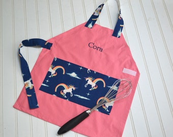 Kids Personalized Aprons - Pink w/ Rainbows and Unicorns- Embroidered Name, Monogram, Preschool, Toddler Smock
