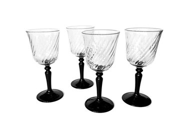 French Crystal Stemware 4 Cordial Glasses After Dinner Liqueur Glasses Black Stem Black & White Decor