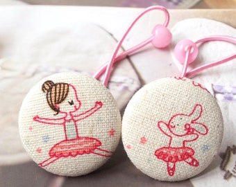 Girl Hair Accessories, Big Hair Tie Button Ponytail Holders - Sweet Pink Ballerina Ballet Dancer Dancing Girl and Bunny (1 Pair)