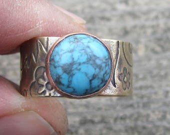 Turquoise Ring Brass and Copper Ring Mixed Metal Ring Size 8 1/2 Ring