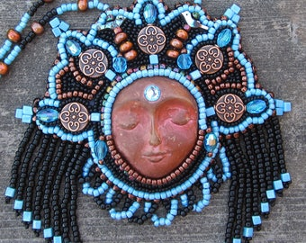 Goddess of Dreams Bead Embroidered Statement Necklace