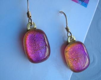 Fused Glass Earrings Fuschia Pink Dangle Earrings Like Opals Glass Dichroic Gold Earwires Oval Dangles Drop Earrings Pink Jewelry Art Glass