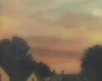 encaustic on Handmade Cast Adobe Tile - Sunset Sky