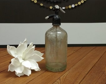 European Seltzer Bottle; Hungarian Seltzer Bottle; Seltzer Bottle; Vintage Seltzer Bottle; Wavy Glass; Bookshelf Decor; Joanna Gaines