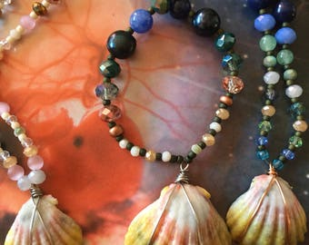 Beaded Sunrise Shell Necklace // Deep Blues and MoonRise