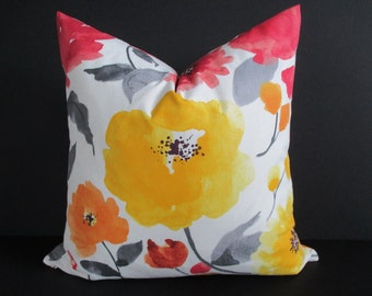 Pillow Cover Watercolor Floral Les Aquarelles Fabric from France Both Sides